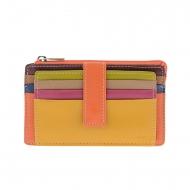 Carteira e bolsa para cartões em couro multicolorido