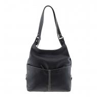 Mochila e bolsa de couro preto