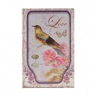 Tipo de livro seguro com pássaros e flores cor de rosa