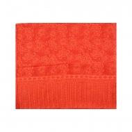 Lenço vermelho impresso com flores laranja