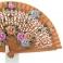 Ventilador de couro com design de flores em madeira a céu aberto 110367