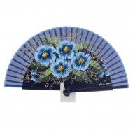 Leque de design marinho com quatro flores em azul