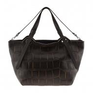 Bolsa Maxi em couro marrom gravado