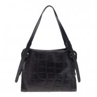 Bolsa de ombro preta com duas alças em couro gravado