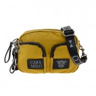 Bolsa de ombro com vários bolsos em lona amarela