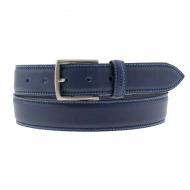 Cinto de couro Bellido azul com costura dupla