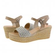 Sandálias de cunha taupe de couro e tecido cinza Porronet