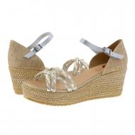 Sandálias de couro prata e ráfia com salto Porronet