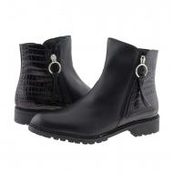 Botas de couro preto liso e gravado até o tornozelo