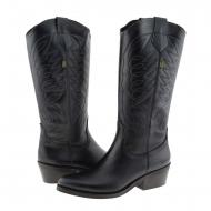 Botas de couro pretas estilo Valverde Cowboy