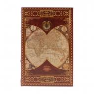 Cofre estilo livro da Borgonha com mapa-múndi