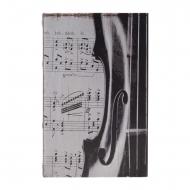 Cofre estilo livro com partituras e violino