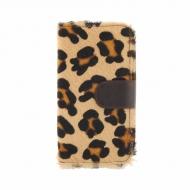 Leopard pele carteira zíper