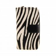 Carteira de zíper de pele de zebra