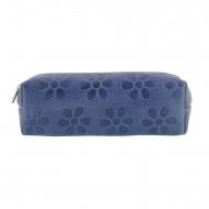 Bolsa de couro azul alongada com flores