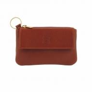 Porta-chaves bolsa de couro com zíper