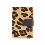 Carteira de pele de leopardo, carteira e titular do cartão