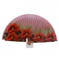 Fan design vermelho flores e folhas