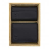 Carteira de couro liso e chaveiro definido em preto