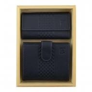 Definir azul carteira de couro e porta-chaves Lady