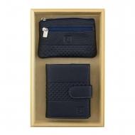 Carteira de bolsa de couro azul e chaveiro