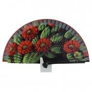 Fã preto cinco design de flores vermelhas