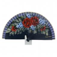 projeto ventilador vermelho e flores azuis