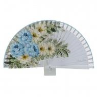 Três flores azuis de design de madeira fã